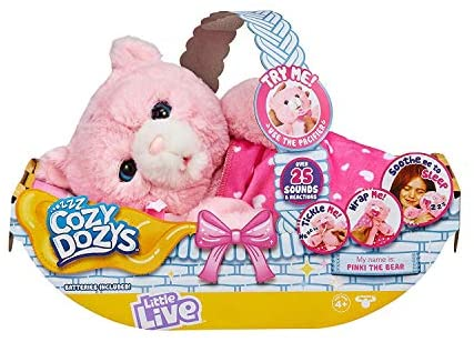 51wZtW cCIL. AC  - Little Live Pets Cozy Dozy Pinki The Bear - Over 25 Sounds and Reactions | Bedtime Buddies, Blanket and Pacifier Included | Stuffed Animal, Best Nap Time, Interactive Teddy Bear