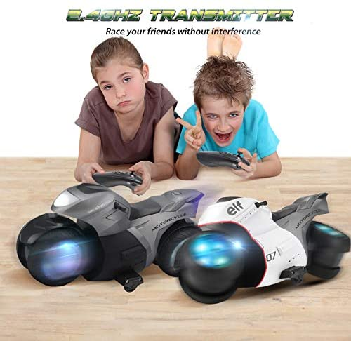 51yQDDbrVlL. AC  - RC Motorcycle Toys, Kids Remote Control Motorcycle Double Sided Flips 360°Rotating Stunt Car for Boys, Gift for Kids/Brithday Gift (Grey)