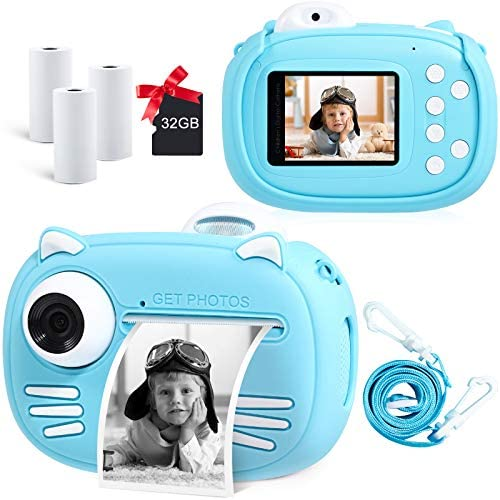"""51yfLrmVGLL. AC  - Instant Camera for Kids Camera for Boys 40MP Digital Camera for Kids Selfie Video Camera with Print Paper, 2.4"""" Screen Toddler Camera Children Toy Camera for Kids 3 4 5 6 7 8-10 12, 32G TF Card, Blue"""