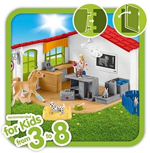 51ykzun9+9L. AC  - Schleich Farm World 27-piece Vet Practice Playset with Animal Toys for Kids Ages 3-8
