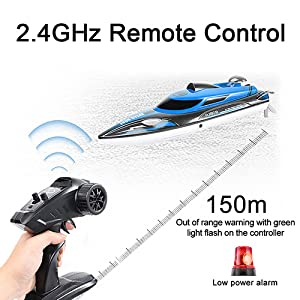 5f4fc05e 13f6 4c15 9009 7bc643e06cb1.  CR0,0,500,500 PT0 SX300 V1    - HONGXUNJIE 2.4Ghz High Speed RC Boat-HJ808 18mph Remote Control Racing Boat for Kids and Adults for Lakes and Pools with Double Batteries Double Charger Cables (Blue)
