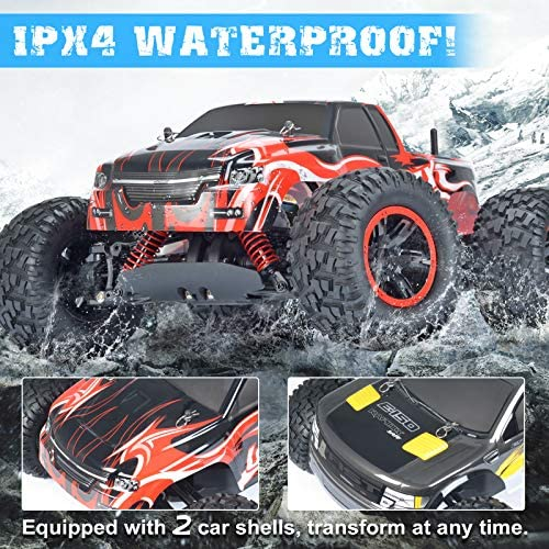 61+cc1l83dL. AC  - NQD 1:10 Off Road RC Truck, 40+KM/H Remote Control Car, All Terrain Waterproof High Speed Remote Control Monster Truck, 4WD 2.4Ghz RC Cars for Kids & Adults Gifts