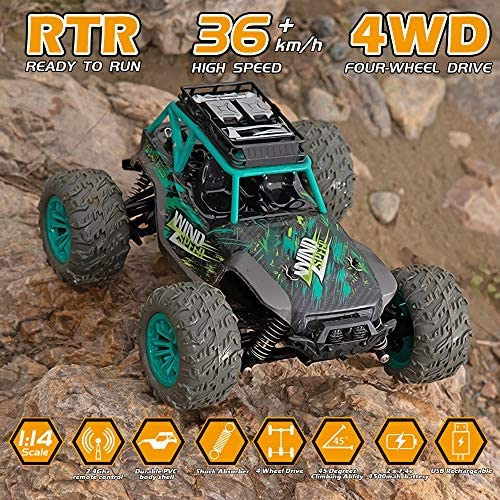 613R6k2M+tL. AC  - Remote Control Car, 1:14 Scale Christmas Large RC Cars 36 KM/H Speed 4WD Off Road Monster Trucks, All Terrain Electric Toy Trucks for Adults & Boys 8-12 - 2 Batteries for 60+ Min Play