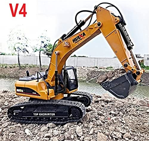 618kqwpwbYS. AC  - HUINA 1580 V4 Full Metal RC Excavator 23 Channel 2.4GHz Digger Construction Vehicle Hobby Professional Grade Remote Control Tractor Toy Smoke LED Lights and Sounds - 2 Rechargeable Batteries