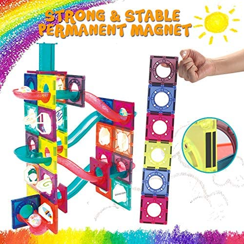 619hWIZL3gL. AC  - JUMAGA Magnetic Tiles Marble Run for Kids, 3D Pipes Magnets Building Blocks Track Set, STEM Educational Toy Gift for Toddlers Boys Girls Age 3+, 125 Piece