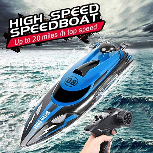 61ACNzMXZGL. AC  - HONGXUNJIE 2.4Ghz High Speed RC Boat-HJ808 18mph Remote Control Racing Boat for Kids and Adults for Lakes and Pools with Double Batteries Double Charger Cables (Blue)