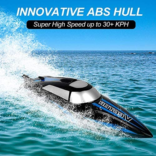 61B4A imH0L. AC  - RC Boat, 2.4Ghz Remote Control Boat for Pools and Lakes, 4 Channels Fast Racing Boat with 30+KPH Speed Boat Toys for Kids and Adults (Blue)