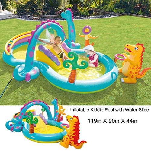 61D0nX0BVLL. AC  - Inflatable Kiddie Pool with Water Slide - 119in X 90in X 44in Dinosaur Inflatable Play Center, Above Ground Pool, Water Slides for Kids Backyard, Kids Pool Outdoor Toys w/ Splash for Ages 2+ Toddler