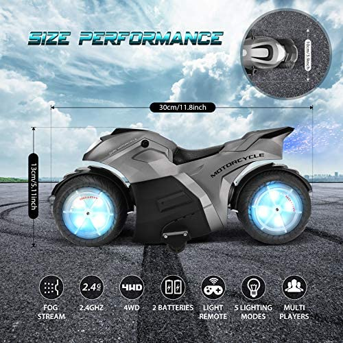 61IjcJ7yHVL. AC  - RC Motorcycle Toys, Kids Remote Control Motorcycle Double Sided Flips 360°Rotating Stunt Car for Boys, Gift for Kids/Brithday Gift (Grey)