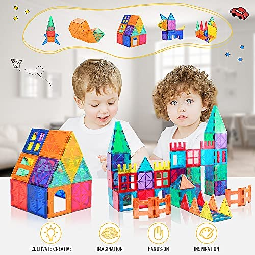 61J5oYEjwdS. AC  - Magnetic Building Blocks Game Toy, 75 Pcs 3D Magnetic Tiles Construction Playboards Kit Develop Kids Imagination, Inspiration and Fine Motor Skills in Children Educational Toys for Age 3 - 8 Year-Old