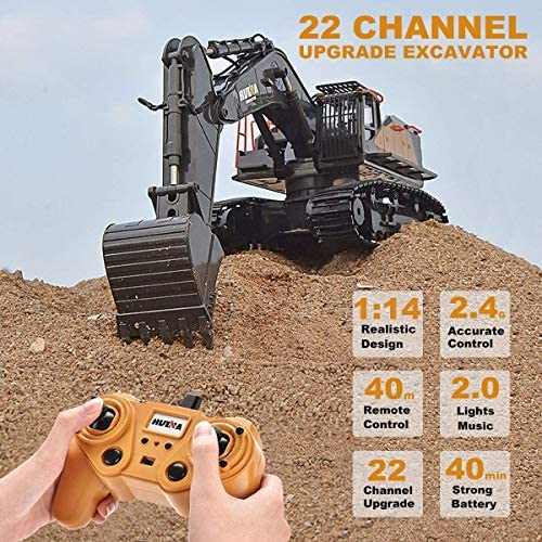 61JsyzHpyDL. AC  - Remote Control Excavator Toy 1/14 Scale RC Excavator, 22 Channel Upgrade Full Functional Construction Vehicles Rechargeable RC Truck with Metal Shovel and Lights Sounds