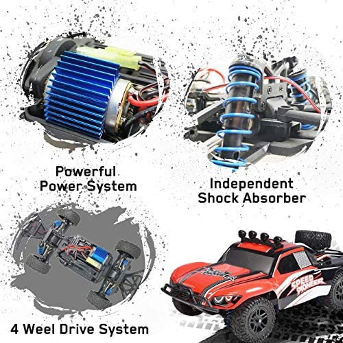61KvDkXUQ3L. AC  - VOLANTEXRC 1:18 Scale All Terrain RC Car 40 KM/H High Speed 4WD RC Truck with 2.4 GHz Remote Control Off Road RC Monster Vehicle Truck Crawler with Two Rechargeable Batteries for Boys Kids and Adults