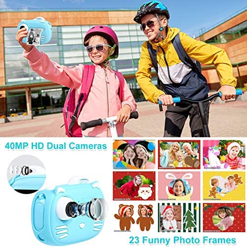 """61PVkriY 5L. AC  - Instant Camera for Kids Camera for Boys 40MP Digital Camera for Kids Selfie Video Camera with Print Paper, 2.4"""" Screen Toddler Camera Children Toy Camera for Kids 3 4 5 6 7 8-10 12, 32G TF Card, Blue"""