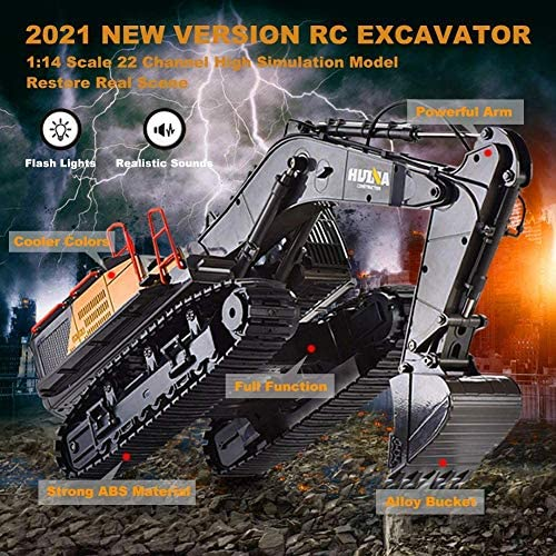 61PparJ0bjL. AC  - Remote Control Excavator Toy 1/14 Scale RC Excavator, 22 Channel Upgrade Full Functional Construction Vehicles Rechargeable RC Truck with Metal Shovel and Lights Sounds