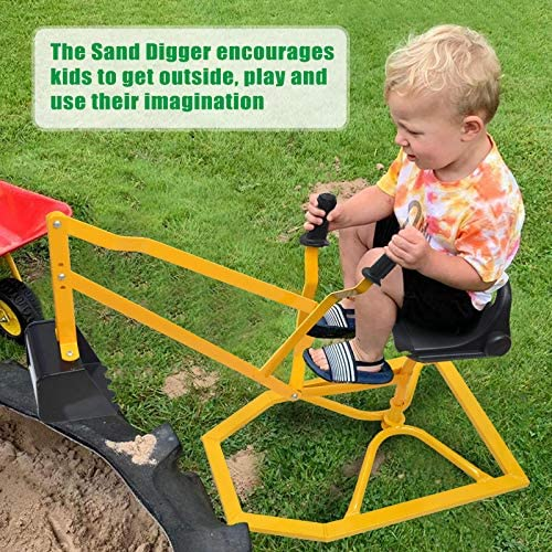 61QpUb4bOXL. AC  - Hand-Mart Kids Ride On Sand Digger, 360° Rotatable Excavator Toy Crane with Base for Sand, Dirt, Snow, Beach, Heavy Duty Steel Digging Toys for Boys Girls, Sandbox Digger for Kids Outdoor
