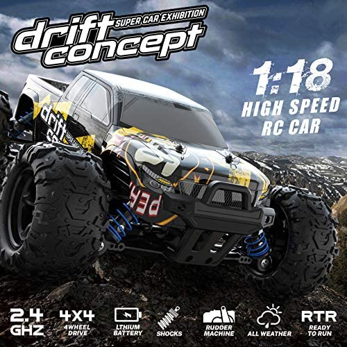 61RbOGTa2sL. AC  - 1/18 RC Cars High Speed Remote Control Car for Adults Kids 30+MPH, 4WD Off-Road RC Monster Truck, Fast 2.4GHz All Terrains Toy Trucks Gifts for Boys, with 2 Rechargeable Batteries for 40Min Play
