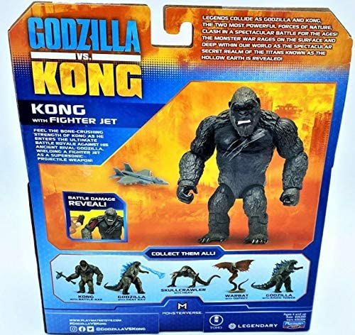 """61Sq8z8ZRQL. AC  - Godzilla vs. Kong 2021 Bundle of 2 Monsterverse Movie Series 6"""" Action Figures Godzilla with Radio Tower and King Kong with Fighter Jet"""
