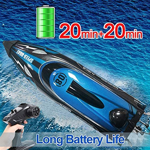 61TFZCEMSiL. AC  - HONGXUNJIE 2.4Ghz High Speed RC Boat-HJ808 18mph Remote Control Racing Boat for Kids and Adults for Lakes and Pools with Double Batteries Double Charger Cables (Blue)