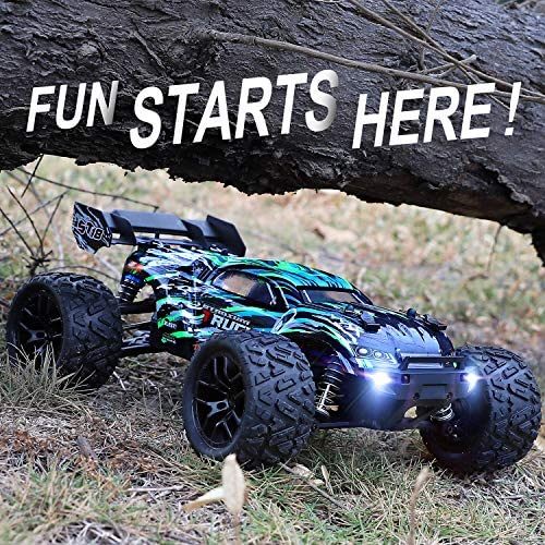 61X6TDTbq5L. AC  - HAIBOXING RC Cars Hailstorm, 36+KM/H High Speed 4WD 1:18 Scale Electric Waterproof Truggy Remote Control Off Road Monster Truck with Two Rechargeable Batteries, RTR ALL Terrain Toys for Kids and Adult