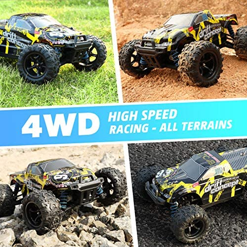 61frO5CUrtL. AC  - 1/18 RC Cars High Speed Remote Control Car for Adults Kids 30+MPH, 4WD Off-Road RC Monster Truck, Fast 2.4GHz All Terrains Toy Trucks Gifts for Boys, with 2 Rechargeable Batteries for 40Min Play