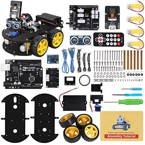61j1BK7HVbL. AC  - ELEGOO UNO R3 Project Smart Robot Car Kit V4.0 with UNO R3, Line Tracking Module, IR Remote Control Module etc. Intelligent and Educational Toy Car Robotic Kit Compatible with Arduino Learner