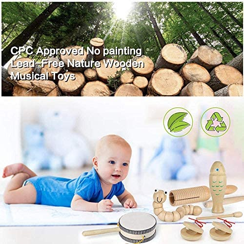 61jiIreufWL. AC  - Kids Toddler Musical Instruments, Toddlers 100% Natural Wooden Music Percussion Toy Sets for Childrens Preschool Educational Age3-8 Early Learning, Musical Toys with Bags Boys and Girls