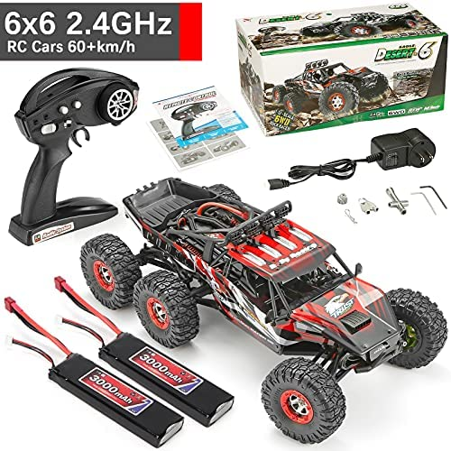 61l5u8EVK2S. AC  - 1:12 Scale Large RC Cars Truck 60+kmh High Speed for Adults and Kids,6x6 2.4GHz Radio Road Monster All Terrain Electric Remote Control Offroad Car with Two Rechargeable Batteries.