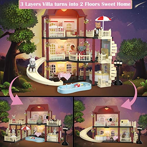 61oiFBi3G6L. AC  - MITCIEN Dollhouse Kit Playset Little Critters Bunny Dolls for Girls with Swimming Pool and Slideside Family Toys for Toddler 3 4 5 6 Year Old Girl