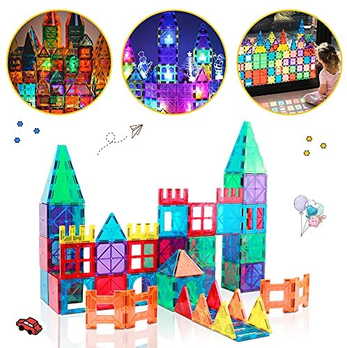 61sRYI3XCXS. AC  - Magnetic Building Blocks Game Toy, 75 Pcs 3D Magnetic Tiles Construction Playboards Kit Develop Kids Imagination, Inspiration and Fine Motor Skills in Children Educational Toys for Age 3 - 8 Year-Old