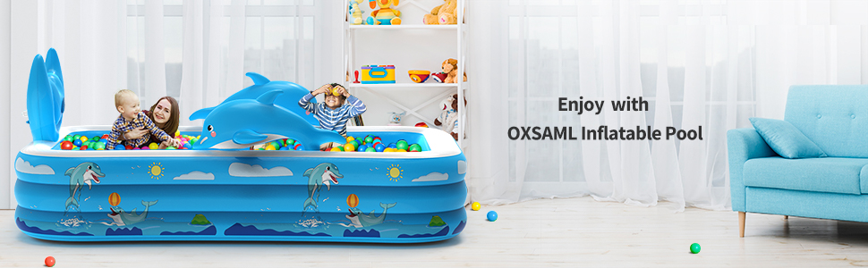 """663bc6d7 4ed8 41b3 809d a124ae5c59c5.  CR0,0,970,300 PT0 SX970 V1    - Inflatable Pool for Kids Family Oxsaml 98"""" x 71"""" x 22 """" Kiddie Pool with Splash, Swimming Pools Above Ground, Backyard, Garden, Summer Water Party"""