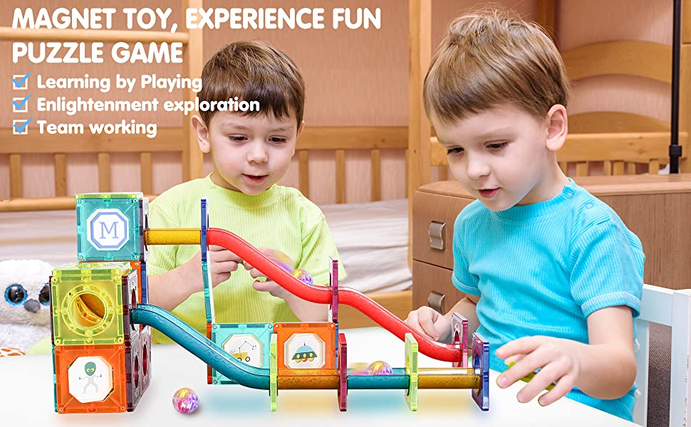 6752ae33 2102 4677 a9c2 50be838afa1e.  CR0,0,1940,1200 PT0 SX970 V1    - JUMAGA Magnetic Tiles Marble Run for Kids, 3D Pipes Magnets Building Blocks Track Set, STEM Educational Toy Gift for Toddlers Boys Girls Age 3+, 125 Piece