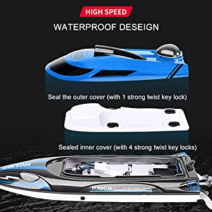 67843862 4ede 4ae7 80be 9934b6fca076.  CR0,0,500,500 PT0 SX300 V1    - HONGXUNJIE 2.4Ghz High Speed RC Boat-HJ808 18mph Remote Control Racing Boat for Kids and Adults for Lakes and Pools with Double Batteries Double Charger Cables (Blue)