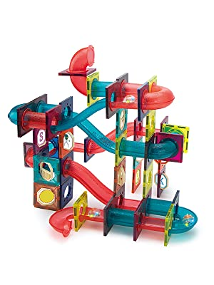 77e1ba64 9a11 44f3 92ca b5cea45d4b6a.  CR0,0,600,800 PT0 SX300 V1    - JUMAGA Magnetic Tiles Marble Run for Kids, 3D Pipes Magnets Building Blocks Track Set, STEM Educational Toy Gift for Toddlers Boys Girls Age 3+, 125 Piece