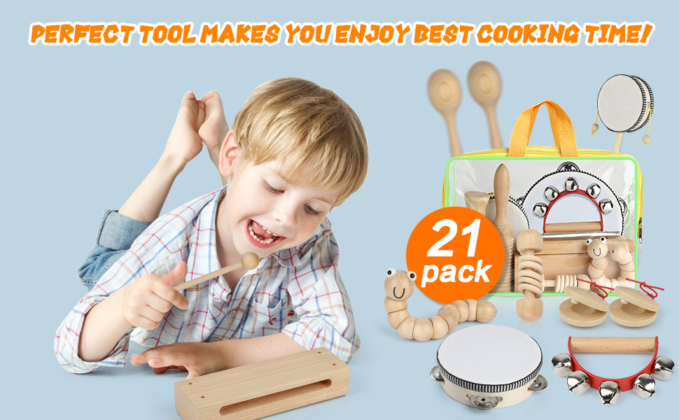 7849d051 47bc 4432 8a74 be78105f04dd.  CR0,0,970,600 PT0 SX970 V1    - Kids Toddler Musical Instruments, Toddlers 100% Natural Wooden Music Percussion Toy Sets for Childrens Preschool Educational Age3-8 Early Learning, Musical Toys with Bags Boys and Girls