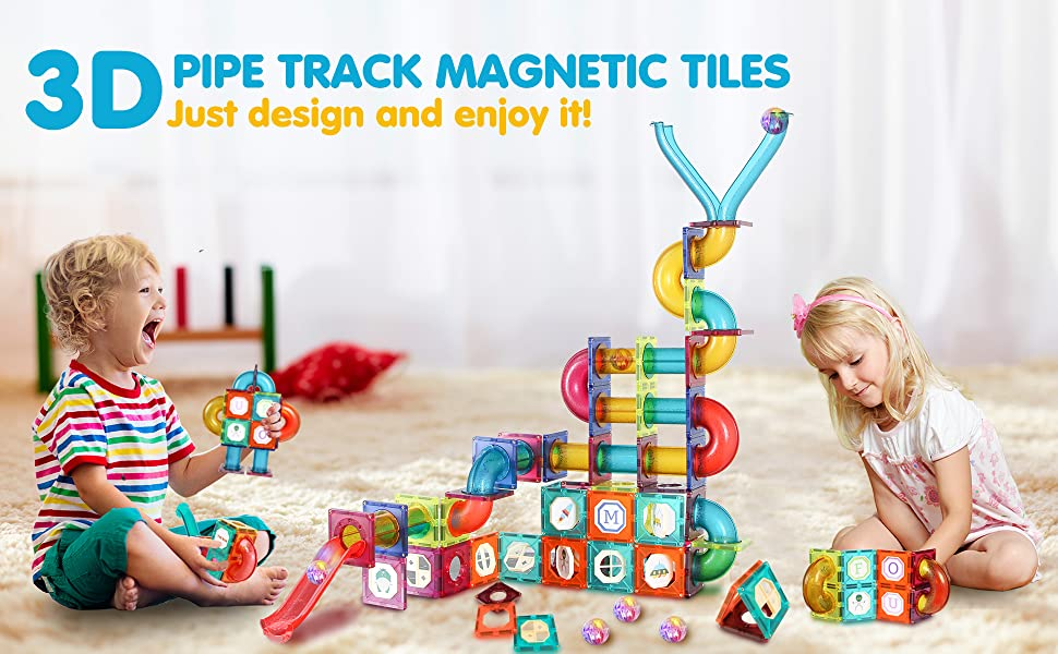 7cdd97a5 e26f 488d bfd6 44bc8d00a4ea.  CR0,0,1940,1200 PT0 SX970 V1    - JUMAGA Magnetic Tiles Marble Run for Kids, 3D Pipes Magnets Building Blocks Track Set, STEM Educational Toy Gift for Toddlers Boys Girls Age 3+, 125 Piece