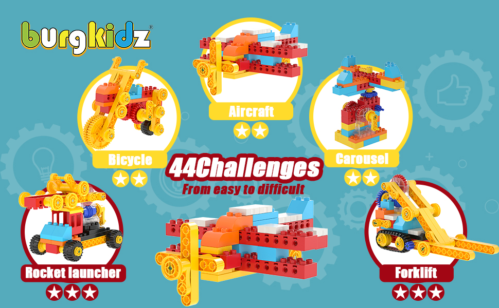 80637e8a fb38 42fa 8e17 65d2ba574893.  CR0,0,970,600 PT0 SX970 V1    - burgkidz Gear Building Blocks Creative STEM Toys Learning Educational Engineering Construction Building Toys Set with Storage Box, 174 Piece Gears Building Set Gifts for Boys Girls