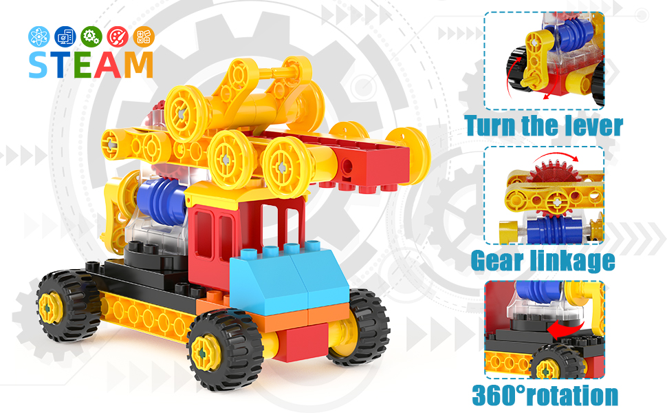 80c8408d 3f60 44de bc85 c815d58e423f.  CR0,0,970,600 PT0 SX970 V1    - burgkidz Gear Building Blocks Creative STEM Toys Learning Educational Engineering Construction Building Toys Set with Storage Box, 174 Piece Gears Building Set Gifts for Boys Girls