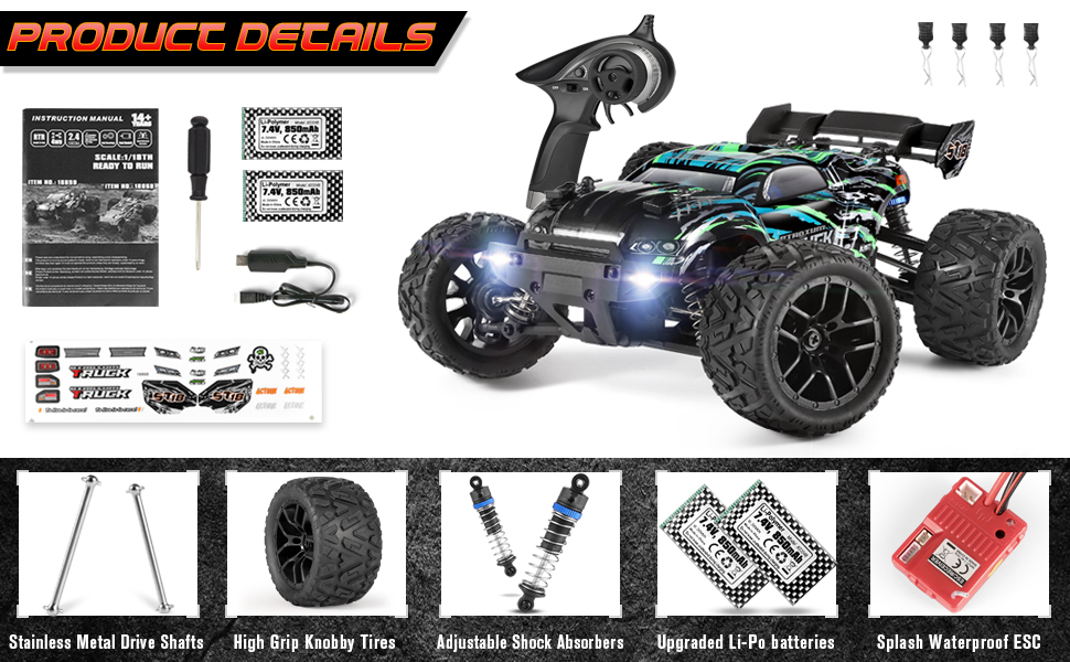 81378687 7b24 4235 b30e 2bf406ac6d0e.  CR0,0,970,600 PT0 SX970 V1    - HAIBOXING RC Cars Hailstorm, 36+KM/H High Speed 4WD 1:18 Scale Electric Waterproof Truggy Remote Control Off Road Monster Truck with Two Rechargeable Batteries, RTR ALL Terrain Toys for Kids and Adult