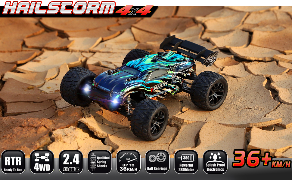 86e198fe 1a96 44b5 a775 ffd55e487770.  CR0,0,970,600 PT0 SX970 V1    - HAIBOXING RC Cars Hailstorm, 36+KM/H High Speed 4WD 1:18 Scale Electric Waterproof Truggy Remote Control Off Road Monster Truck with Two Rechargeable Batteries, RTR ALL Terrain Toys for Kids and Adult