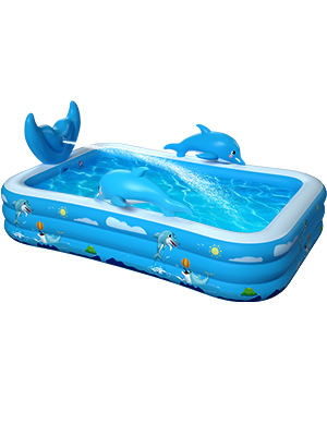 """8e8a225e c193 42ec b0c9 b93c142fe7c7.  CR0,0,300,400 PT0 SX300 V1    - Inflatable Pool for Kids Family Oxsaml 98"""" x 71"""" x 22 """" Kiddie Pool with Splash, Swimming Pools Above Ground, Backyard, Garden, Summer Water Party"""