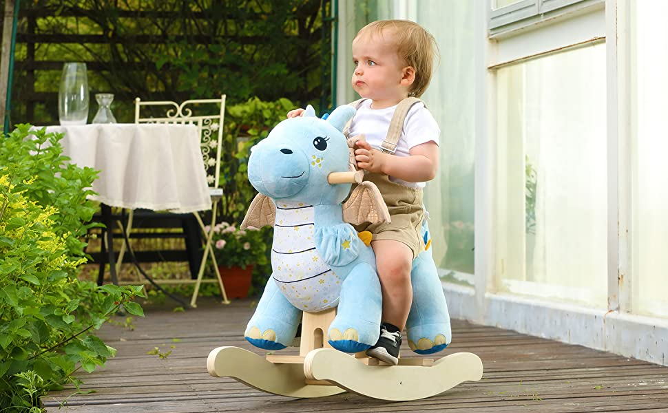 8ea0cf32 9c76 46b2 89b2 18bfc0d61f16.  CR0,0,1455,900 PT0 SX970 V1    - labebe - Baby Rocking Horse, Child Blue Winged Dragon Rocker, Toddler Ride on Toys for Kid 1-3 Years Old, Wooden Rocking Chair Animal for Girl&Boy