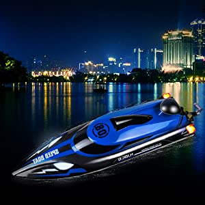 8fa35d36 50a3 4da2 8da2 30b72a73b11c.  CR0,0,500,500 PT0 SX300 V1    - HONGXUNJIE 2.4Ghz High Speed RC Boat-HJ808 18mph Remote Control Racing Boat for Kids and Adults for Lakes and Pools with Double Batteries Double Charger Cables (Blue)