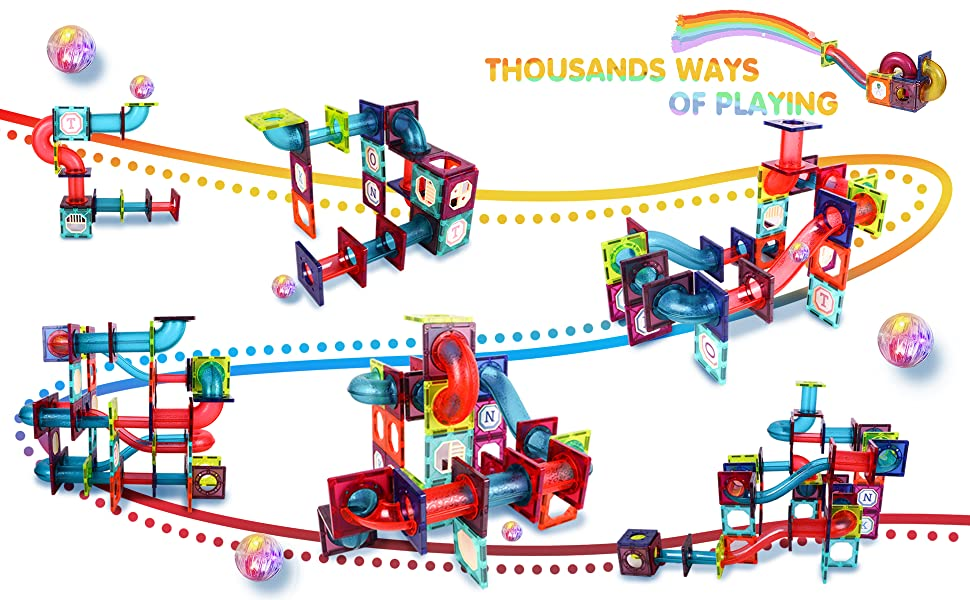 a2c4878c 1094 4514 b6ee bb3c8605f51f.  CR0,0,1940,1200 PT0 SX970 V1    - JUMAGA Magnetic Tiles Marble Run for Kids, 3D Pipes Magnets Building Blocks Track Set, STEM Educational Toy Gift for Toddlers Boys Girls Age 3+, 125 Piece