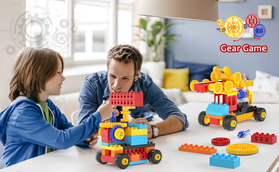 a65c7d7a aab1 4c38 89d5 aacec1d6ee86.  CR0,0,970,600 PT0 SX970 V1    - burgkidz Gear Building Blocks Creative STEM Toys Learning Educational Engineering Construction Building Toys Set with Storage Box, 174 Piece Gears Building Set Gifts for Boys Girls
