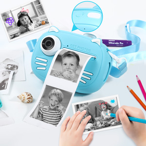 """b972f08f ed8b 496a a661 4b6c06b1ee00.  CR0,0,300,300 PT0 SX300 V1    - Instant Camera for Kids Camera for Boys 40MP Digital Camera for Kids Selfie Video Camera with Print Paper, 2.4"""" Screen Toddler Camera Children Toy Camera for Kids 3 4 5 6 7 8-10 12, 32G TF Card, Blue"""