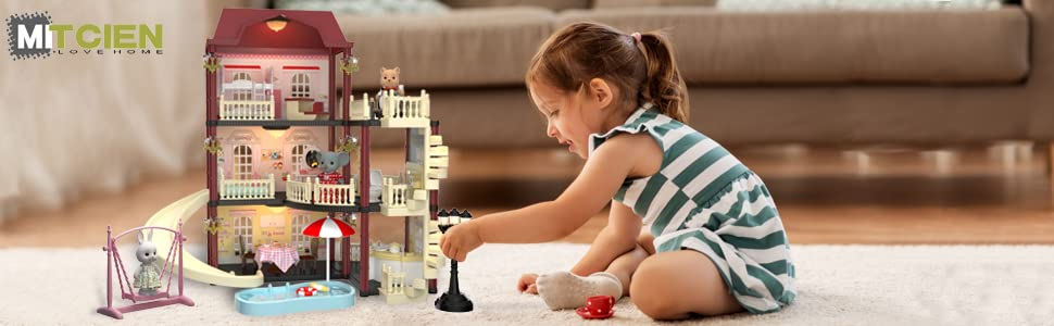 c539e691 628a 4688 ba86 8dfdd9334b8e.  CR5,0,970,300 PT0 SX970 V1    - MITCIEN Dollhouse Kit Playset Little Critters Bunny Dolls for Girls with Swimming Pool and Slideside Family Toys for Toddler 3 4 5 6 Year Old Girl