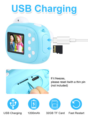 """d0a5d584 a145 4a9c 9b82 dc3ab937c50b.  CR0,0,300,400 PT0 SX300 V1    - Instant Camera for Kids Camera for Boys 40MP Digital Camera for Kids Selfie Video Camera with Print Paper, 2.4"""" Screen Toddler Camera Children Toy Camera for Kids 3 4 5 6 7 8-10 12, 32G TF Card, Blue"""
