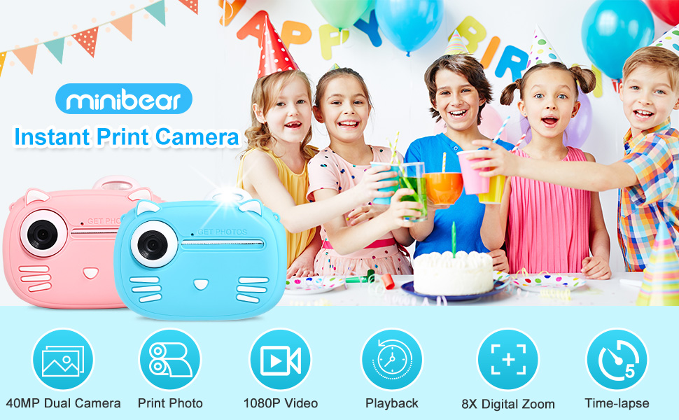 """e9f8bc41 6a70 411f b86f 4537a8f02cf6.  CR0,0,970,600 PT0 SX970 V1    - Instant Camera for Kids Camera for Boys 40MP Digital Camera for Kids Selfie Video Camera with Print Paper, 2.4"""" Screen Toddler Camera Children Toy Camera for Kids 3 4 5 6 7 8-10 12, 32G TF Card, Blue"""