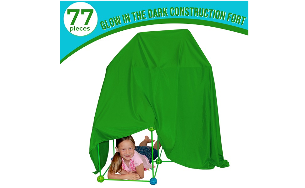 2079cebf 0457 4b6a a18c ddc0a6344356.  CR0,0,970,600 PT0 SX970 V1    - Funphix 77 Pc Fort Building Kit with Glow in The Dark Sticks + Green Sheet - Fun Construction Toy for Age 5+ Creative Play - Encourages Imagination & Teamwork (Blue and Green Balls)