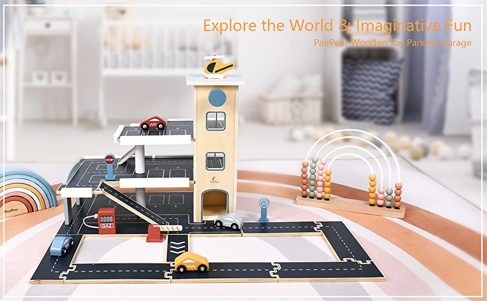315416db 39b2 425a 8cfa 0755c8f79fa6.  CR0,0,1600,990 PT0 SX970 V1    - PairPear Wooden Parking Garage Race Track with Toy Vehicles Large Service Station with Elevator Car Wash Petrol Pump Helicopter playset for Kids 3+